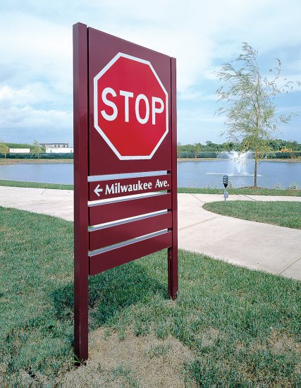 Stop sign using post and panel